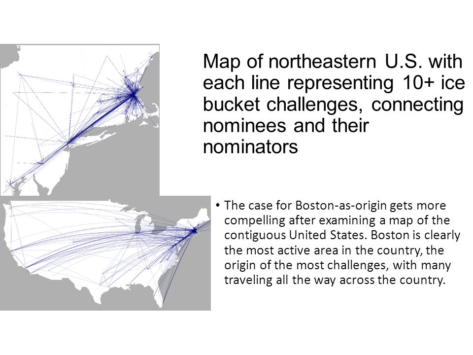 Map of northeastern U.S. with each line representing 10+ ice bucket challenges, connecting nominees and their nominators The case for Boston-as-origin