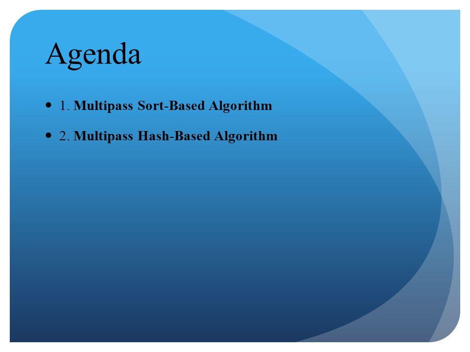Agenda 1. Multipass Sort-Based Algorithm 2. Multipass Hash-Based Algorithm
