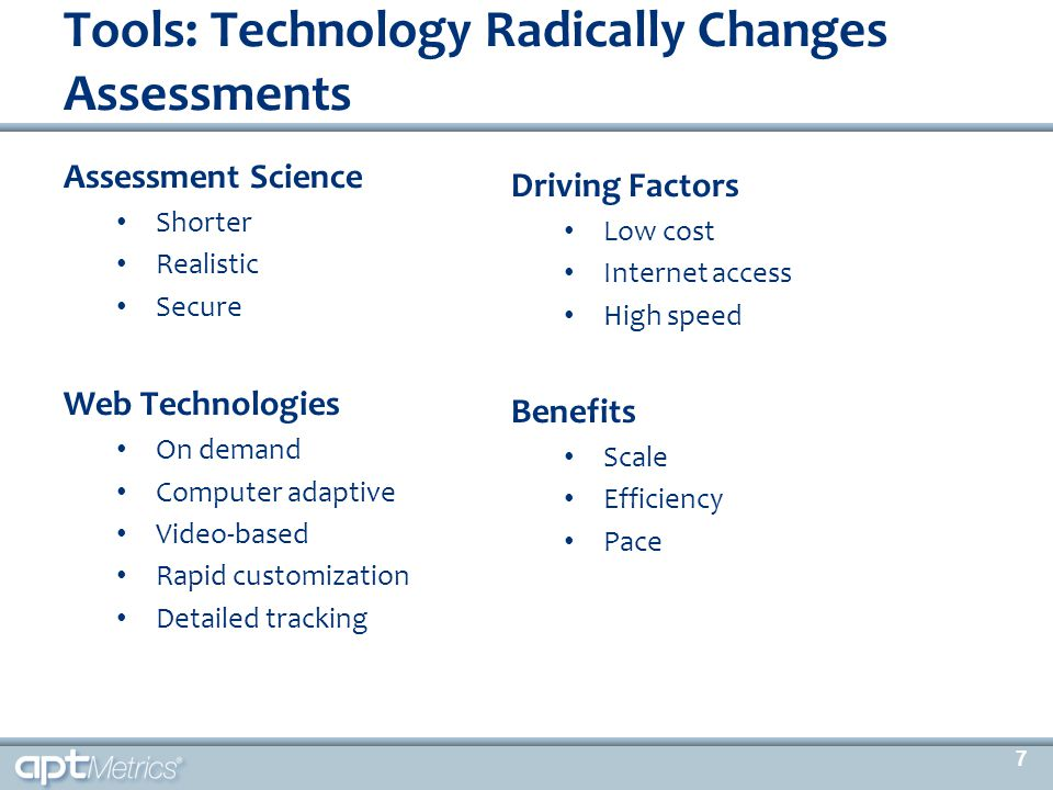 Assessment Science Shorter Realistic Secure Web Technologies On demand Computer adaptive Video-based Rapid customization Detailed tracking Tools: Tech