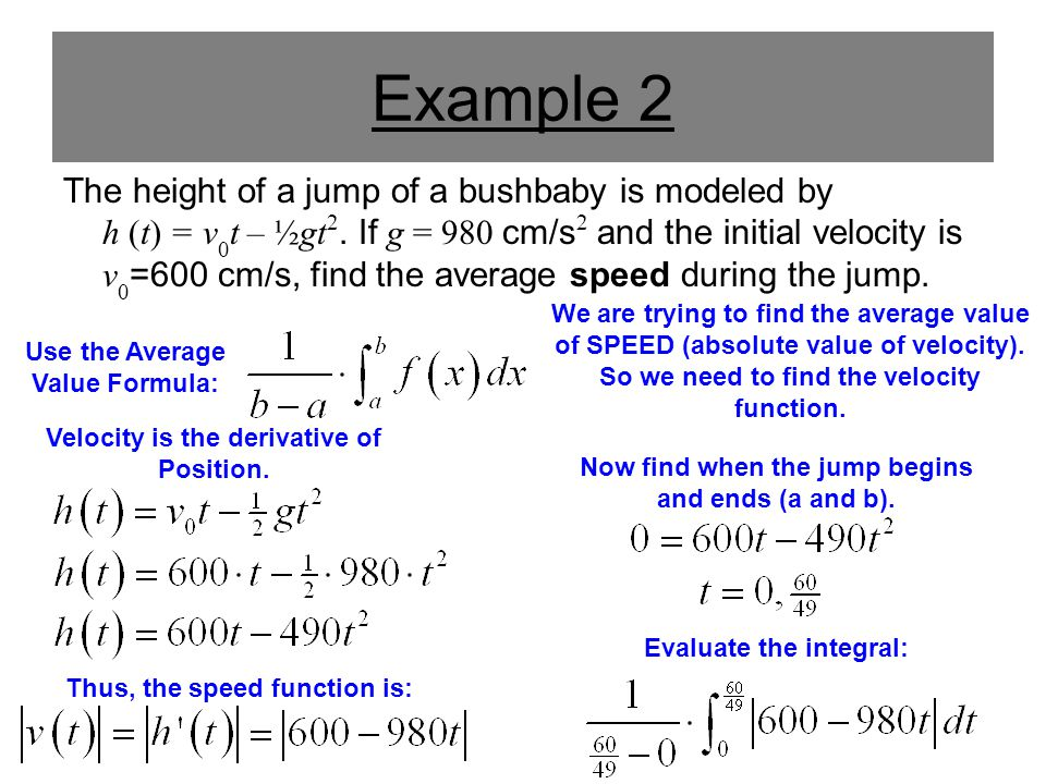 Example 2 The height of a jump of a bushbaby is modeled by h (t) = v 0 t – ½gt 2. If g = 980 cm/s 2 and the initial velocity is v 0 =600 cm/s, find th