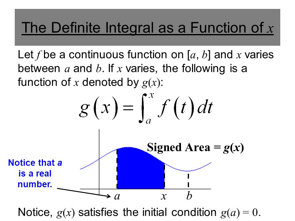 axb Signed Area = g(x) The Definite Integral as a Function of x Let f be a continuous function on [ a, b ] and x varies between a and b. If x varies,