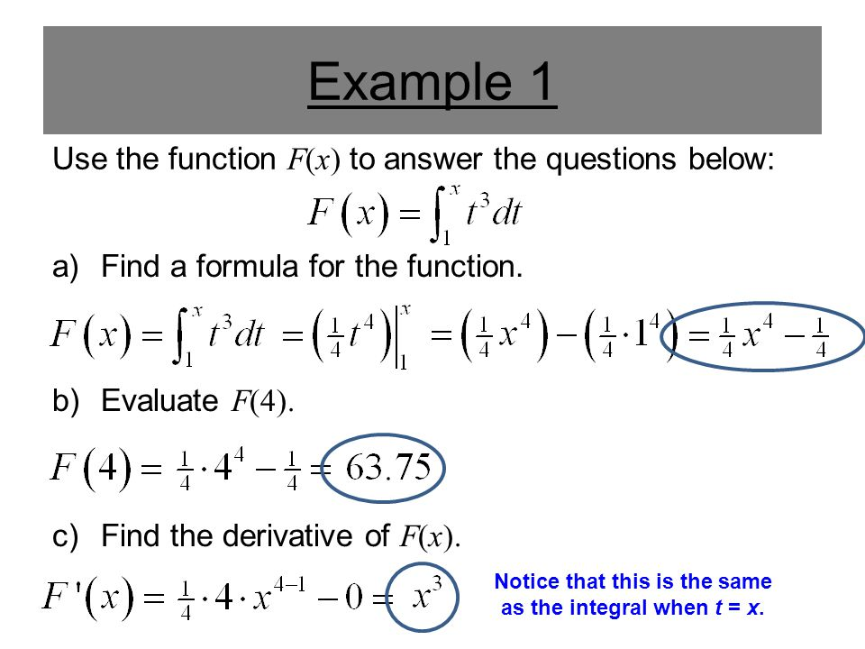 Example 1 Use the function F(x) to answer the questions below: a)Find a formula for the function. b)Evaluate F(4). c)Find the derivative of F(x). Noti
