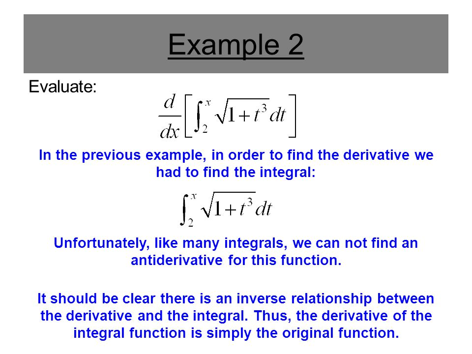 Example 2 Evaluate: In the previous example, in order to find the derivative we had to find the integral: Unfortunately, like many integrals, we can n