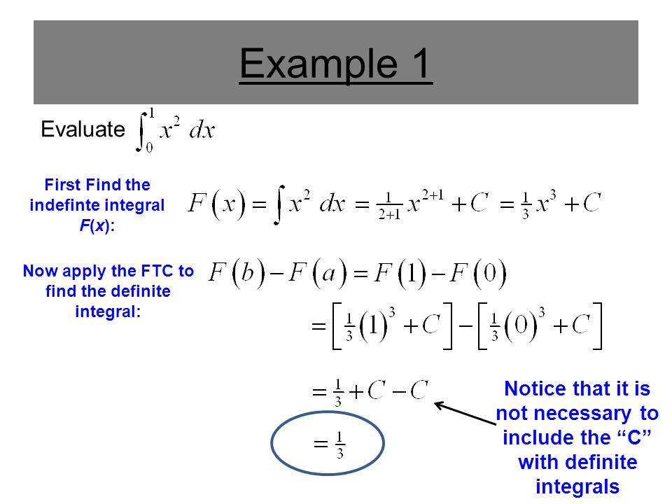 Example 2 Evaluate First Find the indefinte integral F(x): Now apply the FTC to find the definite integral: Notice that it is not necessary to include the C with definite integrals
