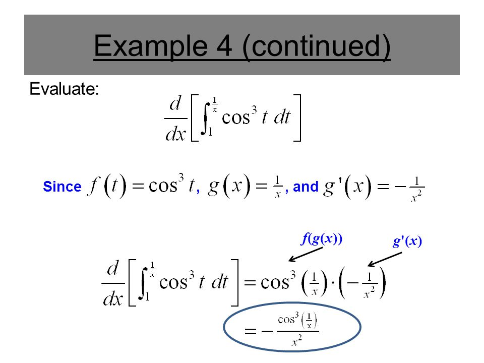 Example 4 (continued) Evaluate: Since,, and f(g(x)) g'(x)
