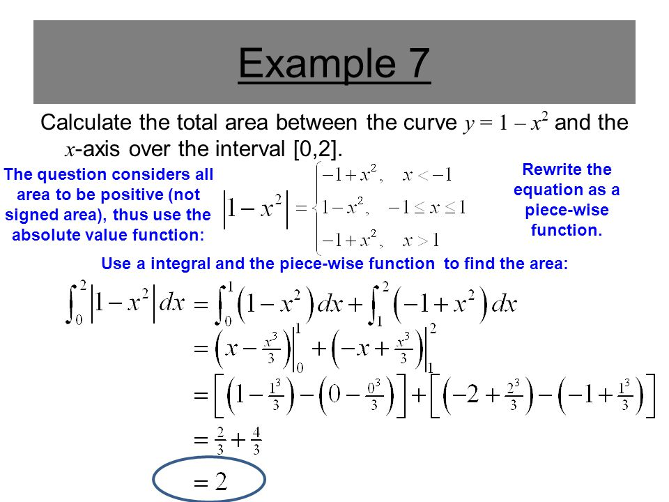 Example 7 Calculate the total area between the curve y = 1 – x 2 and the x -axis over the interval [0,2]. The question considers all area to be positi