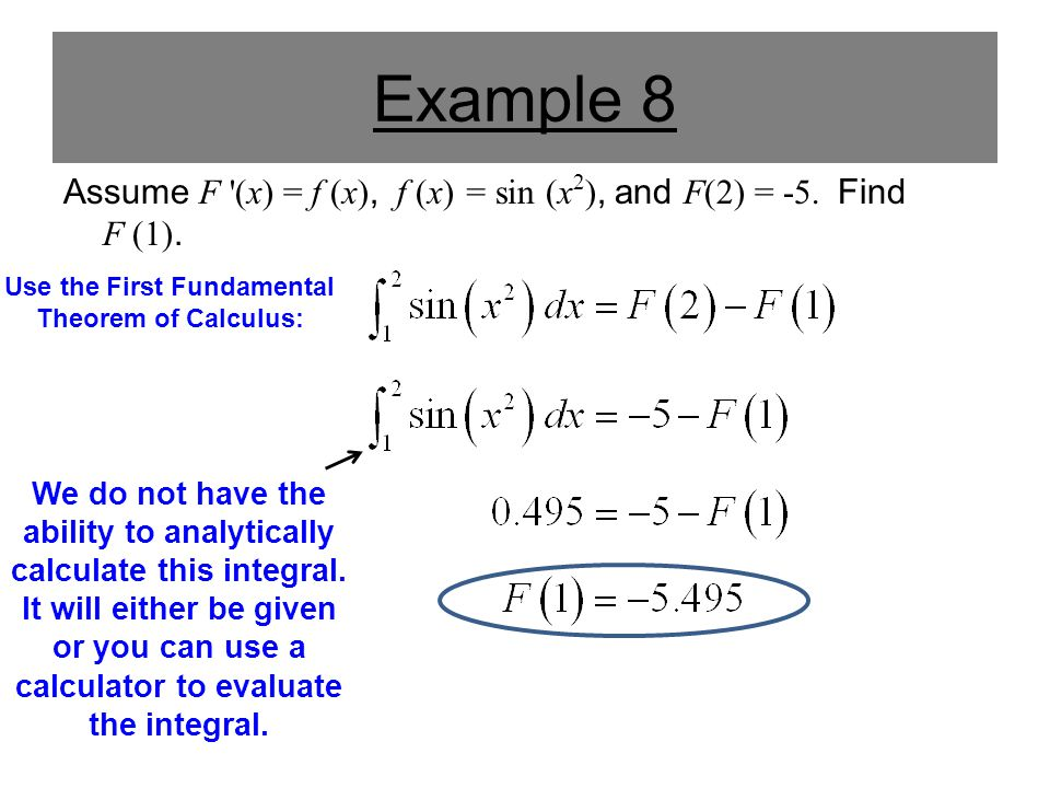 Example 2 Evaluate: In the previous example, in order to find the derivative we had to find the integral: Unfortunately, like many integrals, we can not find an antiderivative for this function.