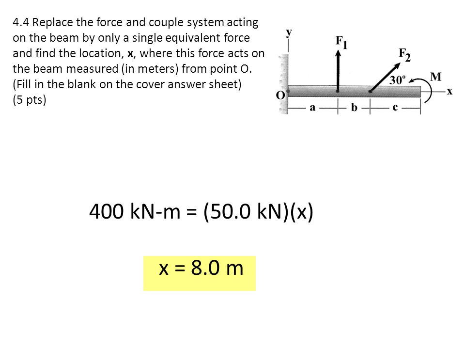4.4 Replace the force and couple system acting on the beam by only a single equivalent force and find the location, x, where this force acts on the be
