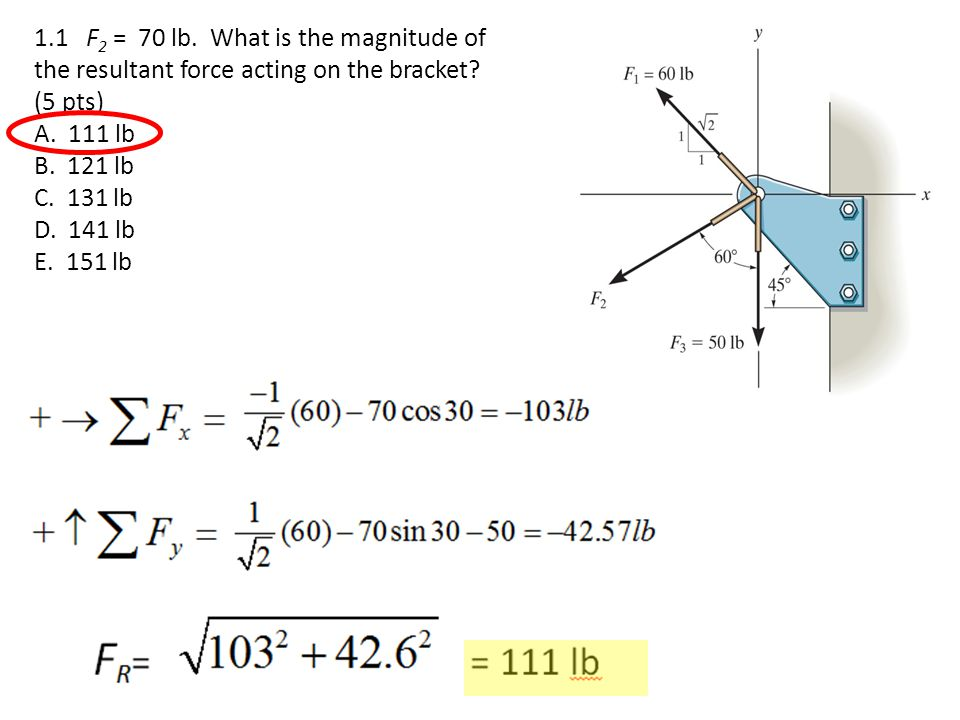 1.3 What is the k component of F 1 .(5 pts) A. 405 N B.