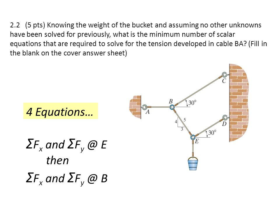 2.2 (5 pts) Knowing the weight of the bucket and assuming no other unknowns have been solved for previously, what is the minimum number of scalar equa