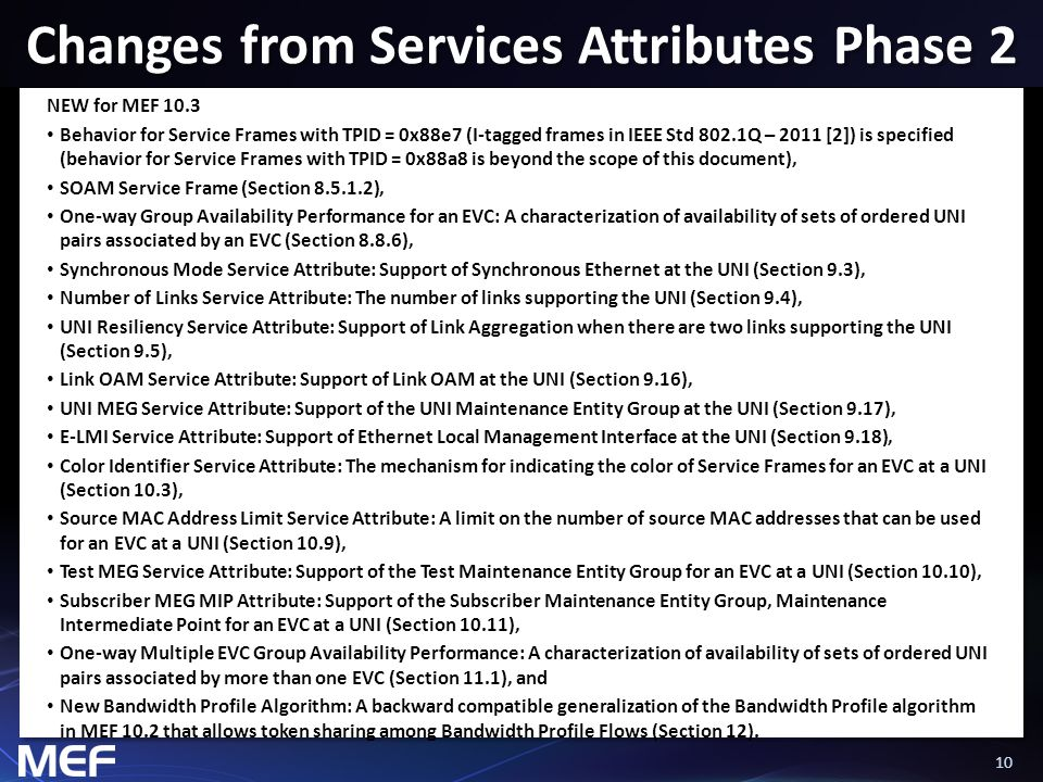 10 Changes from Services Attributes Phase 2 NEW for MEF 10.3 Behavior for Service Frames with TPID = 0x88e7 (I-tagged frames in IEEE Std 802.1Q – 2011