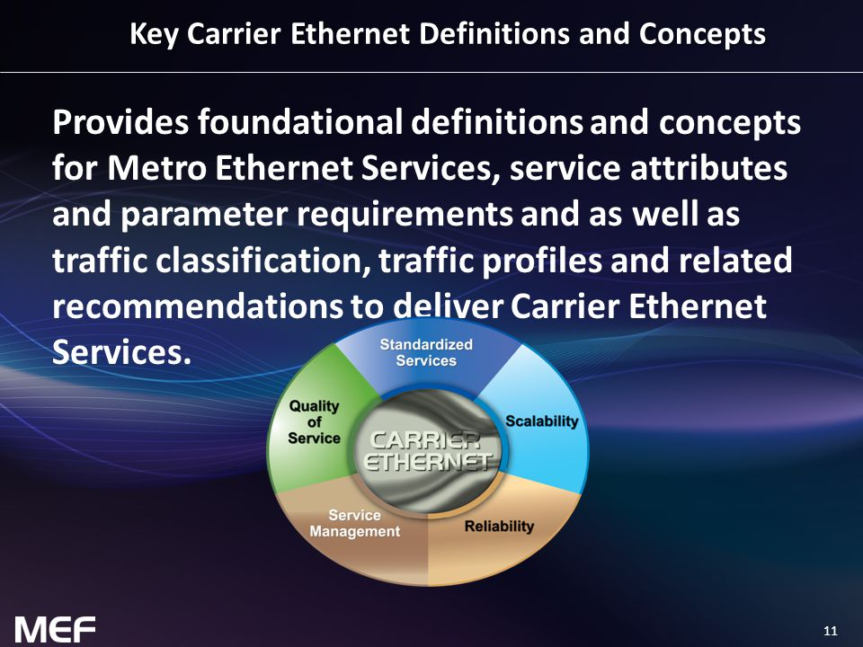 11 Key Carrier Ethernet Definitions and Concepts Provides foundational definitions and concepts for Metro Ethernet Services, service attributes and pa