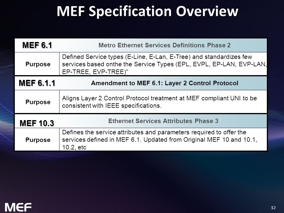 12 MEF Specification Overview Purpose Defines the service attributes and parameters required to offer the services defined in MEF 6.1. Updated from Or
