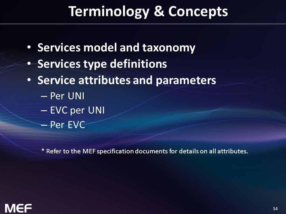 14 Terminology & Concepts Services model and taxonomy Services type definitions Service attributes and parameters – Per UNI – EVC per UNI – Per EVC *