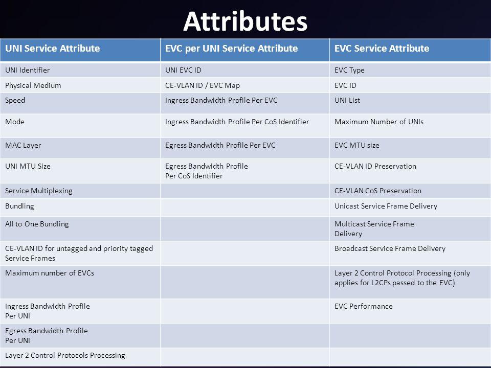 17 Attributes UNI Service AttributeEVC per UNI Service AttributeEVC Service Attribute UNI IdentifierUNI EVC IDEVC Type Physical MediumCE-VLAN ID / EVC