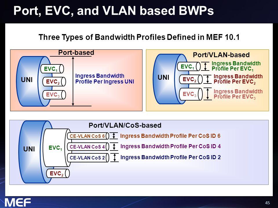 45 UNI EVC 1 EVC 2 EVC 3 Ingress Bandwidth Profile Per Ingress UNI UNI EVC 1 EVC 2 EVC 3 Ingress Bandwidth Profile Per EVC 1 Ingress Bandwidth Profile