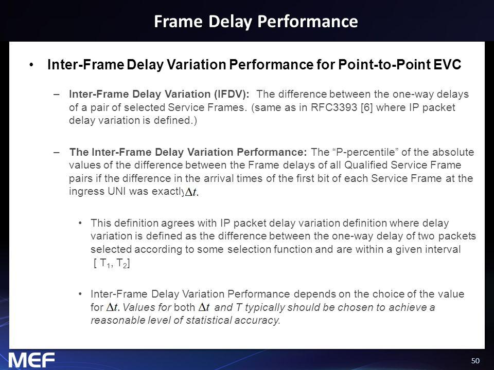 50 Frame Delay Performance Inter-Frame Delay Variation Performance for Point-to-Point EVC –Inter-Frame Delay Variation (IFDV): The difference between