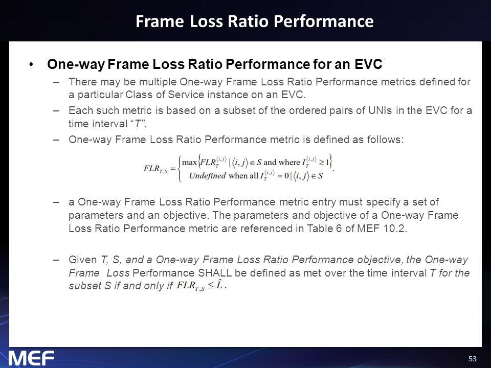 53 Frame Loss Ratio Performance One-way Frame Loss Ratio Performance for an EVC –There may be multiple One-way Frame Loss Ratio Performance metrics de