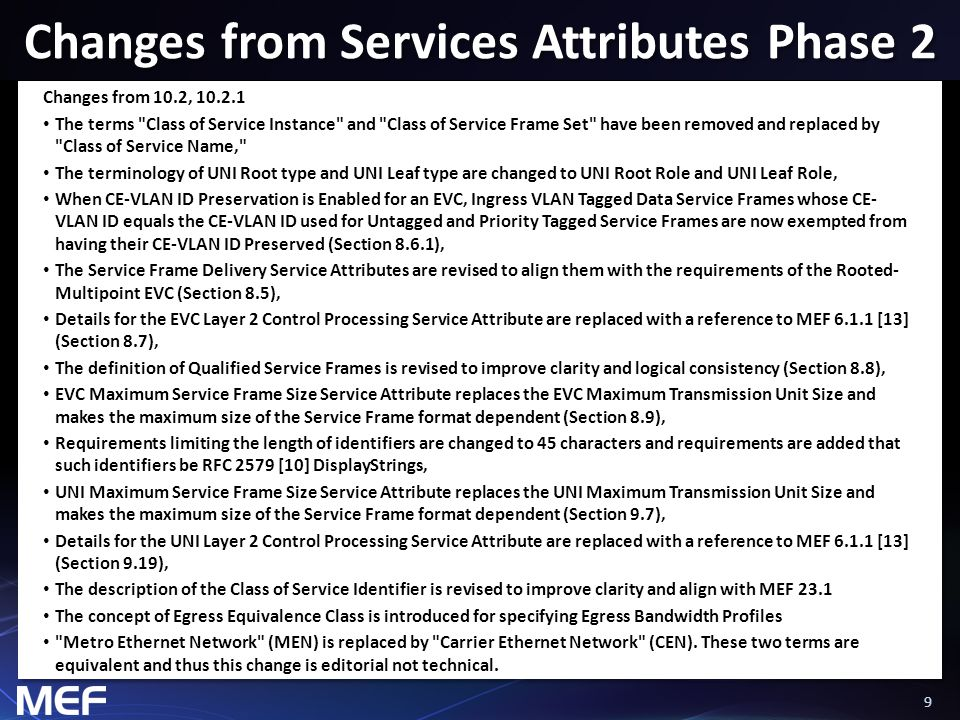 99 Changes from Services Attributes Phase 2 Changes from 10.2, 10.2.1 The terms