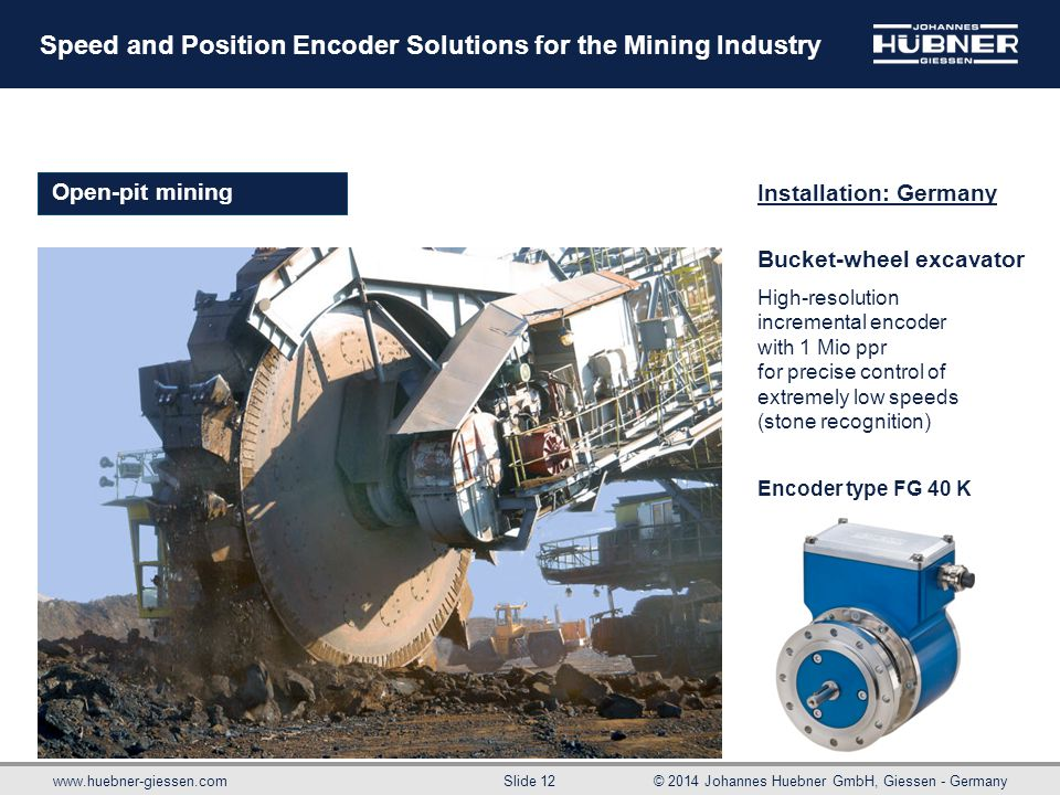 www.huebner-giessen.com© 2014 Johannes Huebner GmbH, Giessen - Germany Slide 12 Speed and Position Encoder Solutions for the Mining Industry Bucket-wh