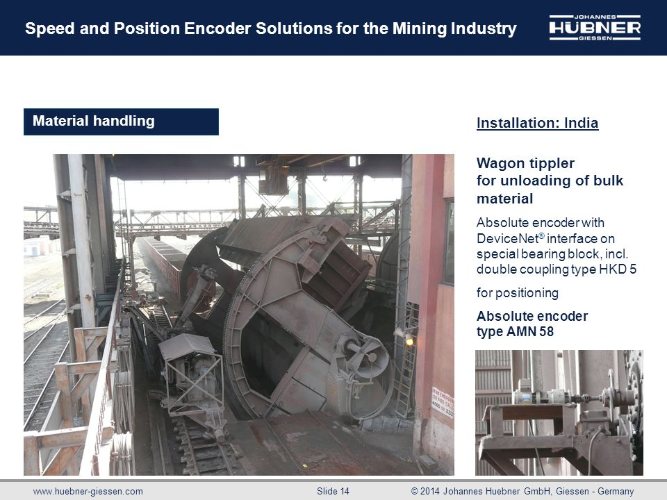 www.huebner-giessen.com© 2014 Johannes Huebner GmbH, Giessen - Germany Slide 14 Speed and Position Encoder Solutions for the Mining Industry Material