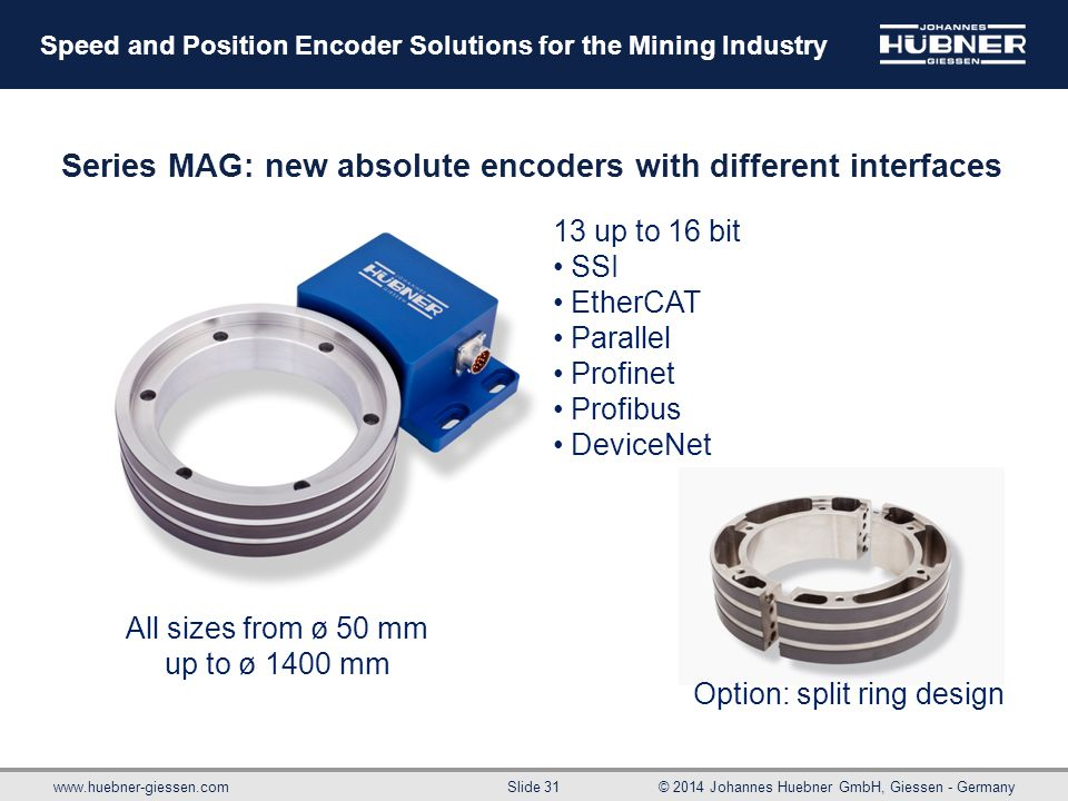 www.huebner-giessen.com© 2014 Johannes Huebner GmbH, Giessen - Germany Slide 31 Speed and Position Encoder Solutions for the Mining Industry Series MA