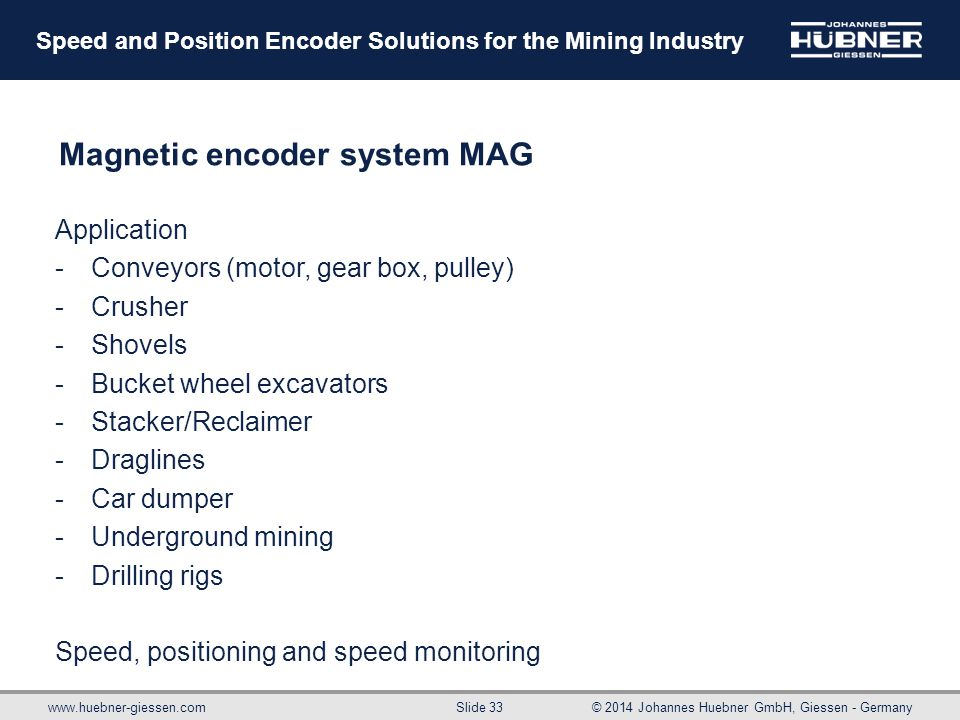 www.huebner-giessen.com© 2014 Johannes Huebner GmbH, Giessen - Germany Slide 33 Speed and Position Encoder Solutions for the Mining Industry Magnetic