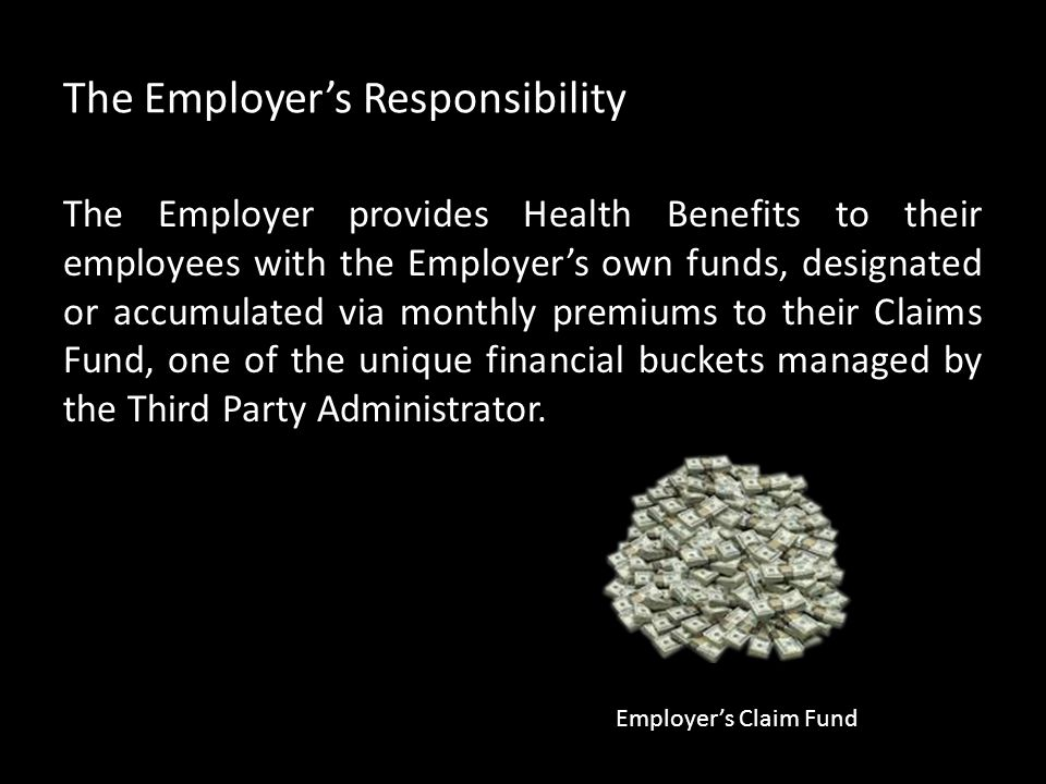The Employer's Responsibility The Employer provides Health Benefits to their employees with the Employer's own funds, designated or accumulated via mo