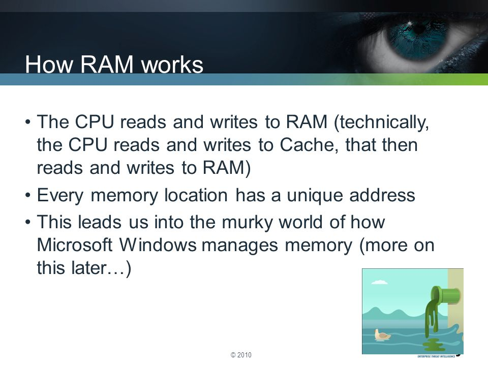 The CPU reads and writes to RAM (technically, the CPU reads and writes to Cache, that then reads and writes to RAM) Every memory location has a unique