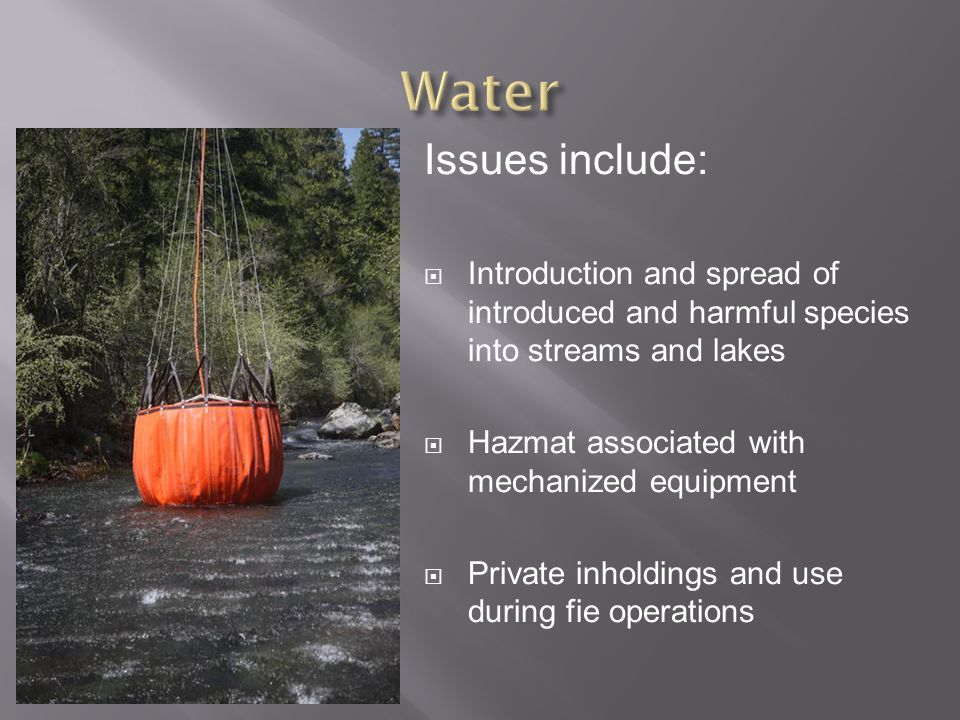 Issues include:  Introduction and spread of introduced and harmful species into streams and lakes  Hazmat associated with mechanized equipment  Private inholdings and use during fie operations