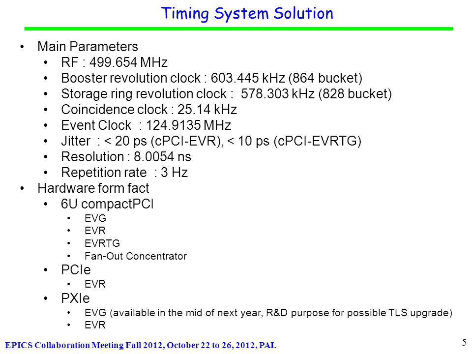 EPICS Collaboration Meeting Fall 2012, October 22 to 26, 2012, PAL cPCI-EVRTG-300 (e-Gun Trigger) Fan-Out Concentrator Timing System Hardware Universal I/O TTL Interlock Input Module Universal I/O TTL Input UNIV-TTLIN Universal I/O TTL Output UNIV-TTL Universal I/O TTL Output Module w/ Delay Tuning Universal I/O NIM Output UNIV-NIM Universal I/O LVPECL Output Module Universal I/O LVPECL Output Module with Delay Tuning Universal I/O HFBR-1414 Output UNIV-HFBR-1414 Universal I/O HFBR-1528 Output UNIV-HFBR-1528 Universal I/O modules cPCI-EVG-300 cPCI-EVR-300 GUN-RC-203/300 Fibre PCIe-EVR-300 PXIe-EVR-300 Interface Board IFB-300 6