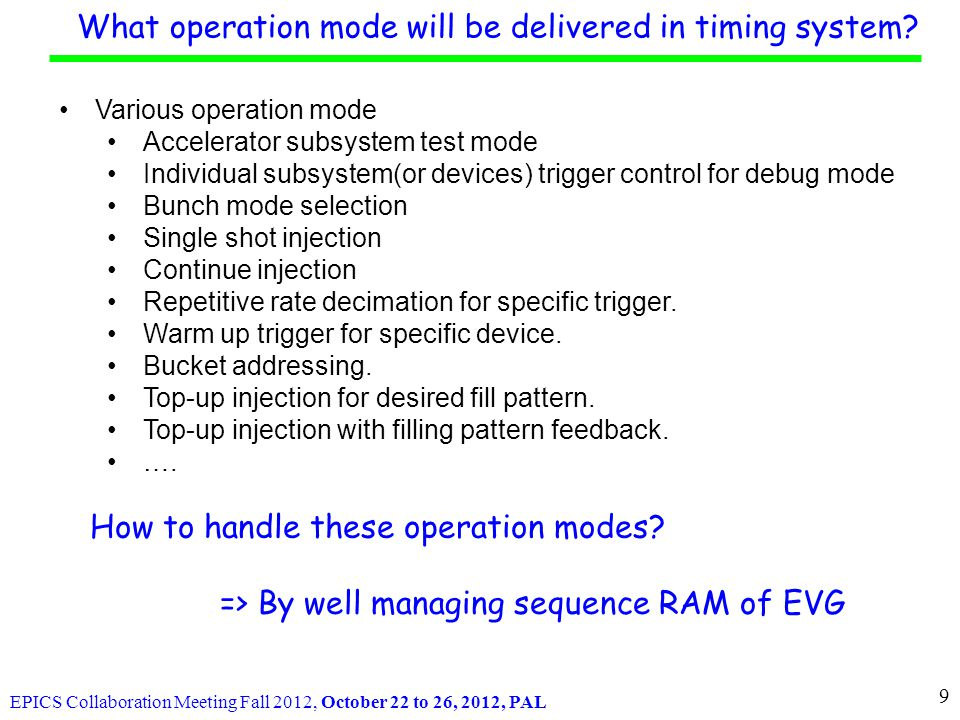 EPICS Collaboration Meeting Fall 2012, October 22 to 26, 2012, PAL Gun Linac LTB BTS Booster Ring Storage Ring a.