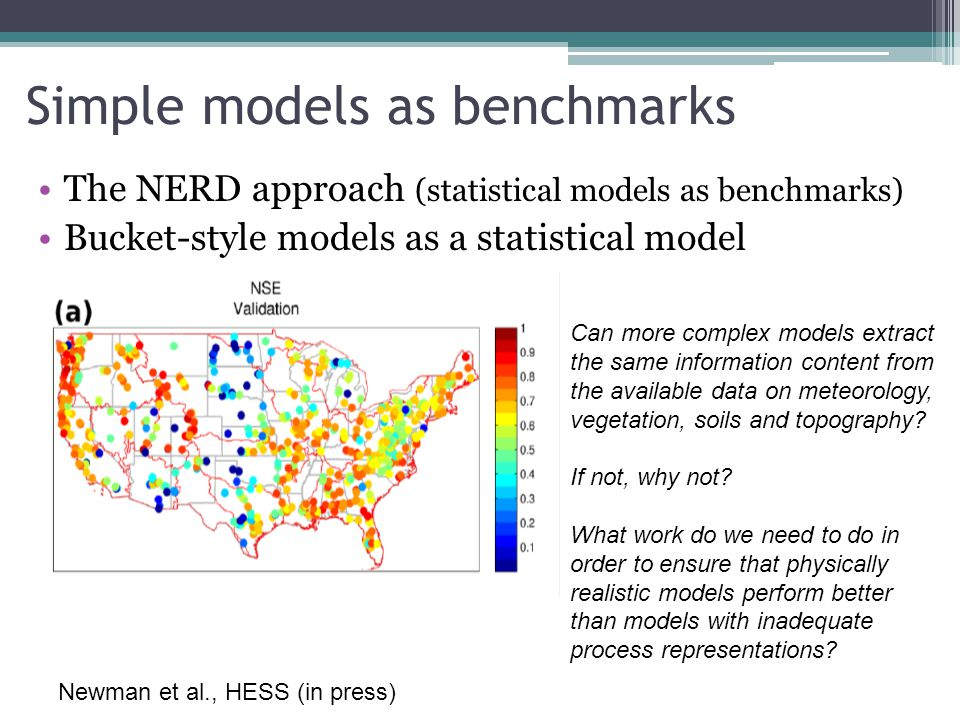 Simple models as benchmarks The NERD approach (statistical models as benchmarks) Bucket-style models as a statistical model Can more complex models ex
