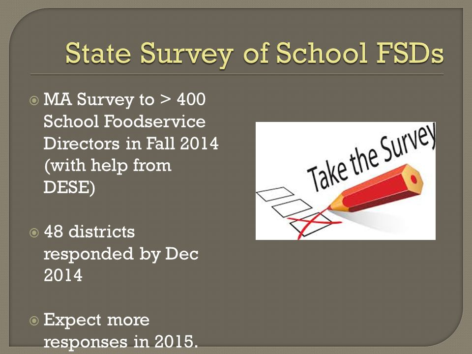  MA Survey to > 400 School Foodservice Directors in Fall 2014 (with help from DESE)  48 districts responded by Dec 2014  Expect more responses in 2015.