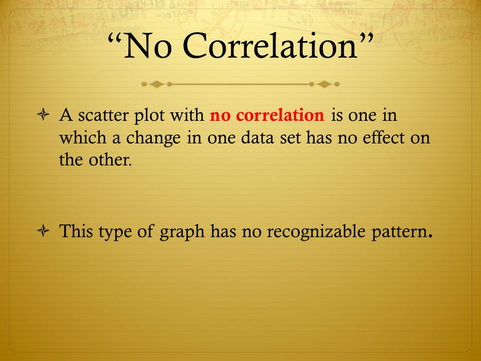 """No Correlation""  A scatter plot with no correlation is one in which a change in one data set has no effect on the other.  This type of graph has no"