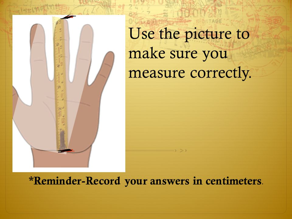 Use the picture to make sure you measure correctly. *Reminder-Record your answers in centimeters.