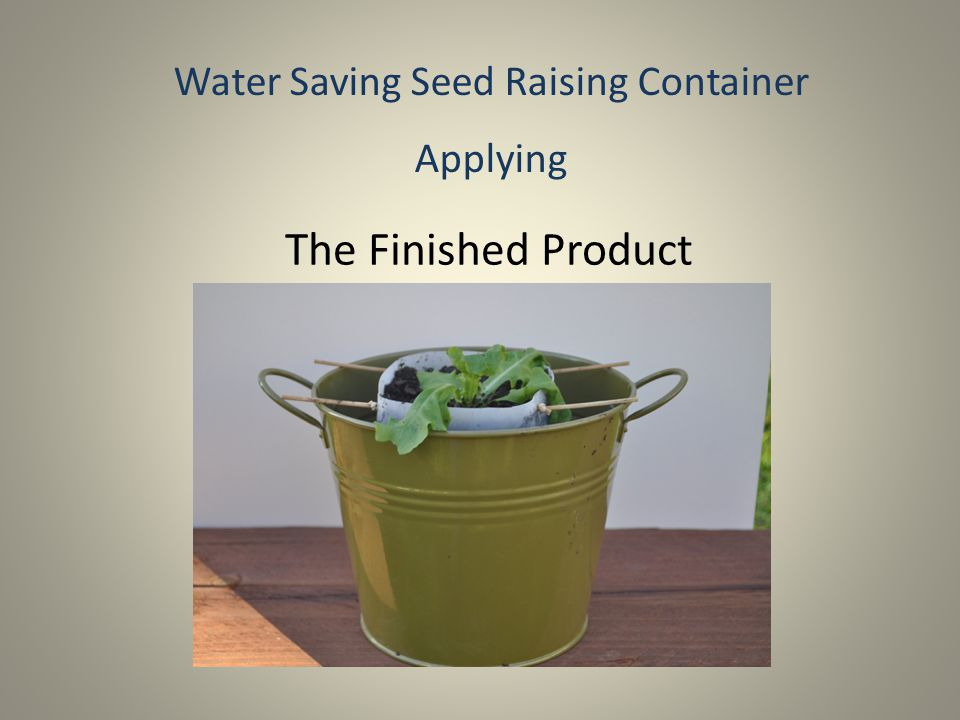 Water Saving Seed Raising Container Evaluative What I Have Learned: I learnt that you can gather very common household objects to make a water saving device.
