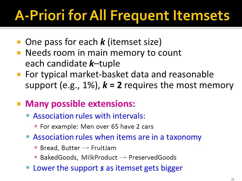  One pass for each k (itemset size)  Needs room in main memory to count each candidate k–tuple  For typical market-basket data and reasonable support (e.g., 1%), k = 2 requires the most memory  Many possible extensions:  Association rules with intervals:  For example: Men over 65 have 2 cars  Association rules when items are in a taxonomy  Bread, Butter → FruitJam  BakedGoods, MilkProduct → PreservedGoods  Lower the support s as itemset gets bigger 18