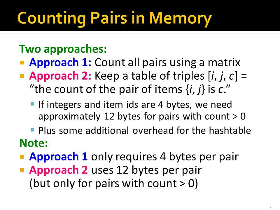 8 4 bytes per pair Triangular Matrix Triples 12 per occurring pair