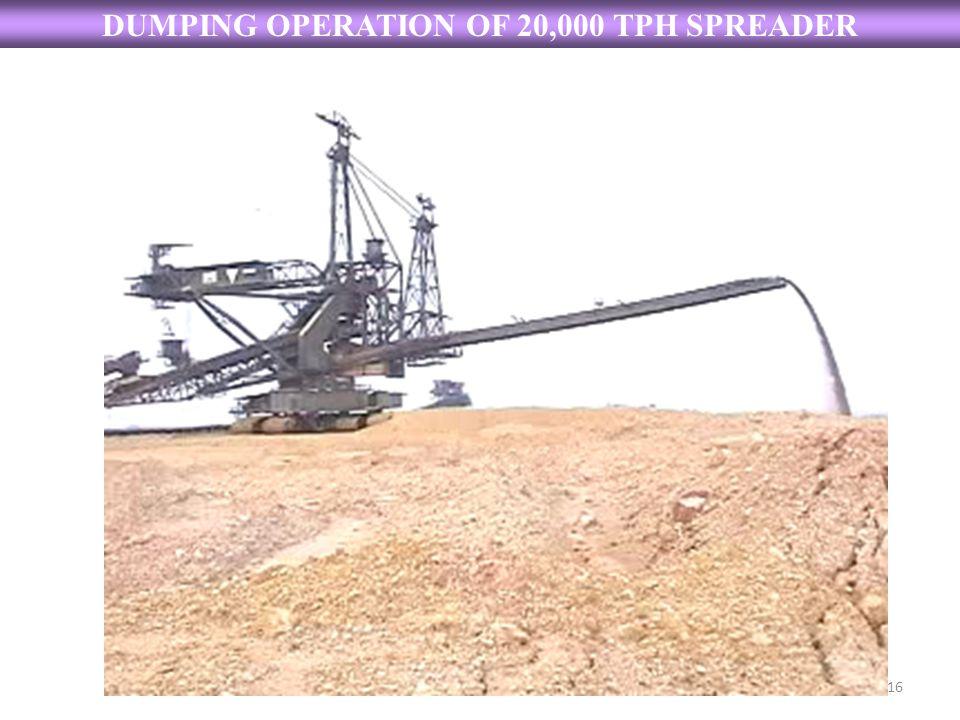 DUMPING OPERATION OF 20,000 TPH SPREADER 16