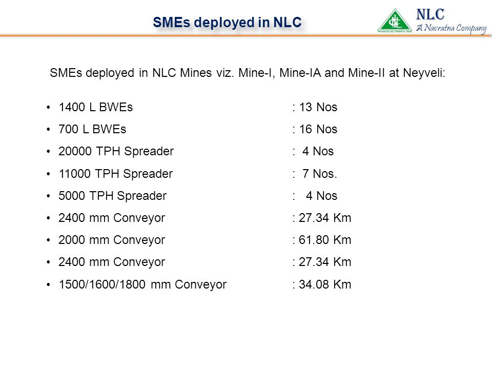 NLC A Navratna Company SMEs deployed in NLC SMEs deployed in NLC Mines viz.