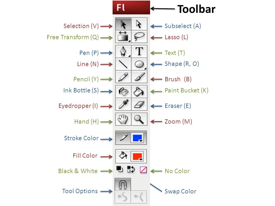Toolbar Selection (V) Line (N) Pen (P) Pencil (Y) Free Transform (Q) Ink Bottle (S) Eyedropper (I) Hand (H) Subselect (A) Lasso (L) Text (T) Shape (R, O) Brush (B) Paint Bucket (K) Eraser (E) Zoom (M) Stroke Color Fill Color Black & White Swap Color No Color Tool Options