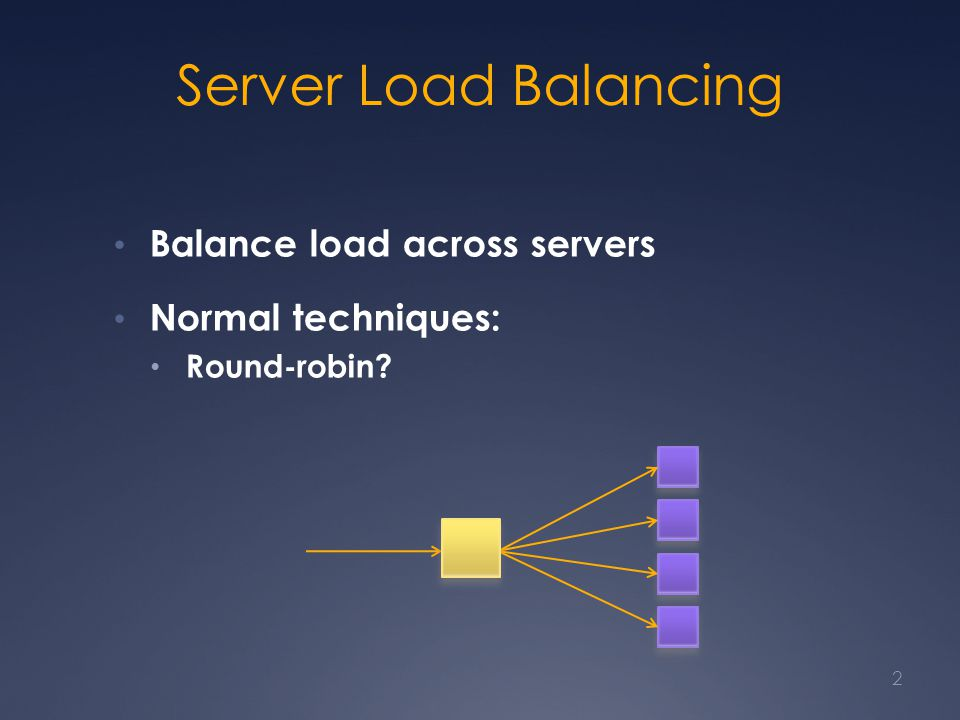 Server Load Balancing Balance load across servers Normal techniques: Round-robin? 2