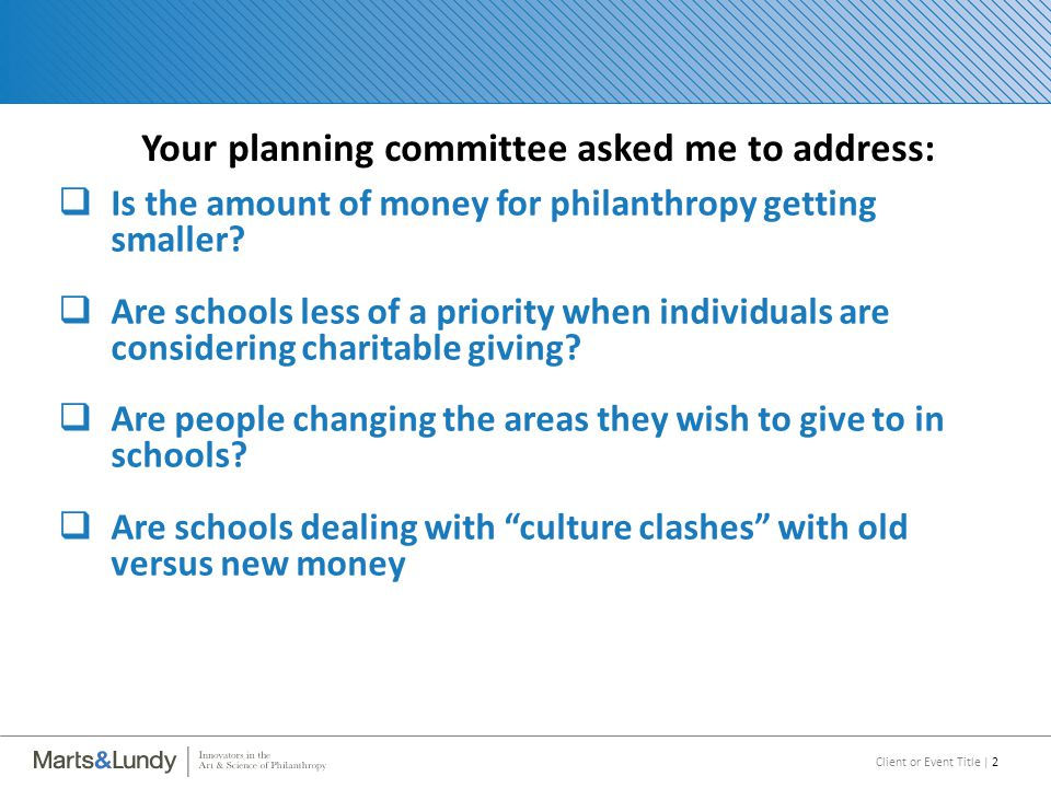 Client or Event Title | 2 Your planning committee asked me to address:  Is the amount of money for philanthropy getting smaller.