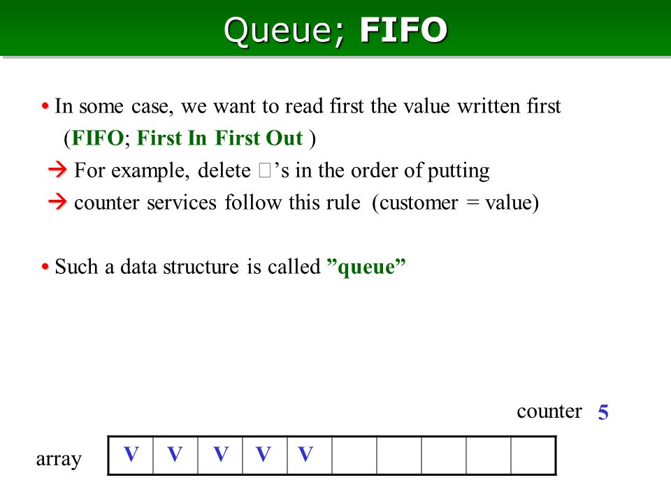 Queue; FIFO In some case, we want to read first the value written first (FIFO; First In First Out )   For example, delete ★ 's in the order of putting   counter services follow this rule (customer = value) Such a data structure is called queue V 5 V array counter VVV