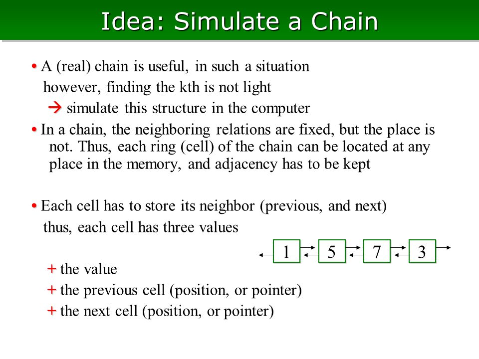 Idea: Simulate a Chain A (real) chain is useful, in such a situation however, finding the kth is not light   simulate this structure in the computer In a chain, the neighboring relations are fixed, but the place is not.