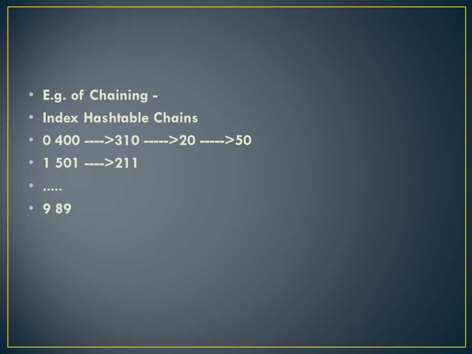 E.g. of Chaining - Index Hashtable Chains 0 400 ---->310 ----->20 ----->50 1 501 ---->211..... 9 89