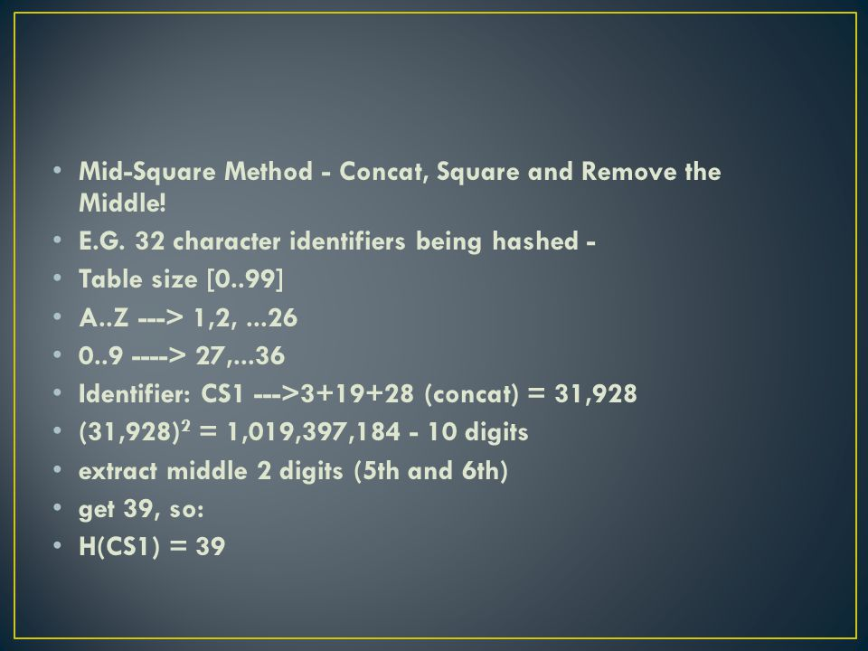 Mid-Square Method - Concat, Square and Remove the Middle.