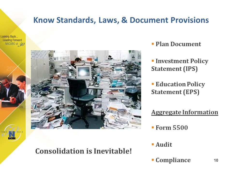 10  Plan Document  Investment Policy Statement (IPS)  Education Policy Statement (EPS) Aggregate Information  Form 5500  Audit  Compliance Know
