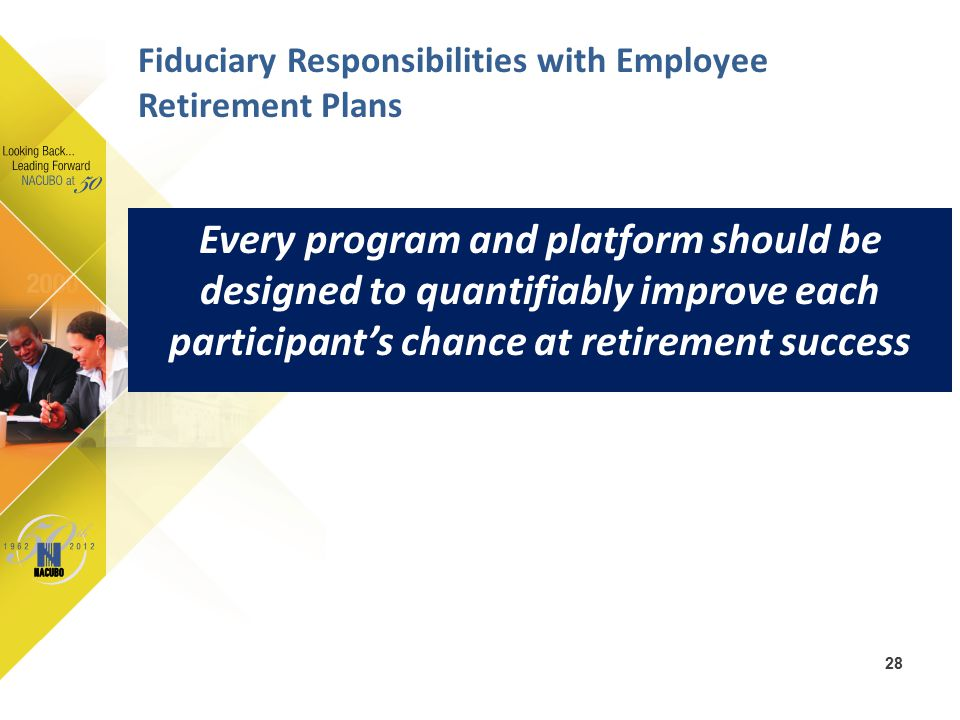 Every program and platform should be designed to quantifiably improve each participant's chance at retirement success 28 Fiduciary Responsibilities wi
